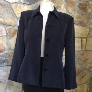 Chaus blazer jacket navy blue 100% silk 5 buttons